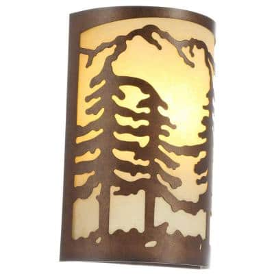 1-Light Natural Antler Sconce with Sunset Glass Shade