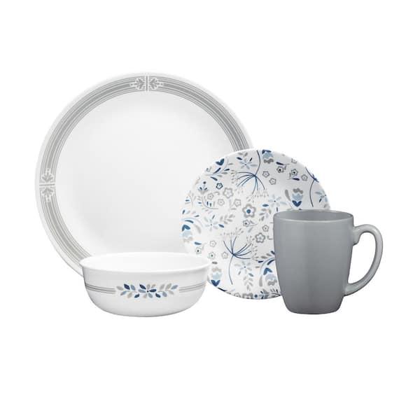 Corelle Classic 16 Piece Casual Prairie Garden Gray Glass Dinnerware Set Service For 4 1135320 The Home Depot