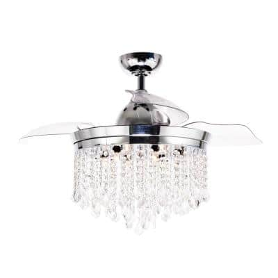 Mateo 46 in. Indoor Chrome Downrod Mount Retractable Chandelier Ceiling Fan with Light and Remote Control