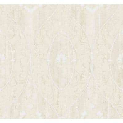 Medallion Beige and Off-White Paper Strippable Wallpaper Roll (Cover 60.75 sq. ft. )