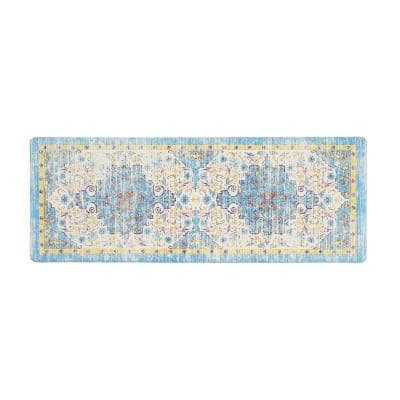 Blue Traditional Bohemian Vintage 18 in. x 47 in. Anti Fatigue Standing Mat