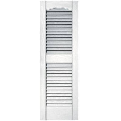 15 in. x 80 in. Louvered Vinyl Exterior Shutters Pair in White