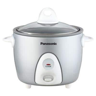 3-Cup Silver Automatic Rice Cooker with Glass Lid, Measuring Cup and Rice Scoop