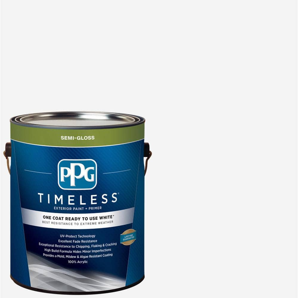 Ppg Timeless 1 Gal White Semi Gloss Exterior Ready To Use One Coat Paint With Primer Ppg73 500 01 The Home Depot