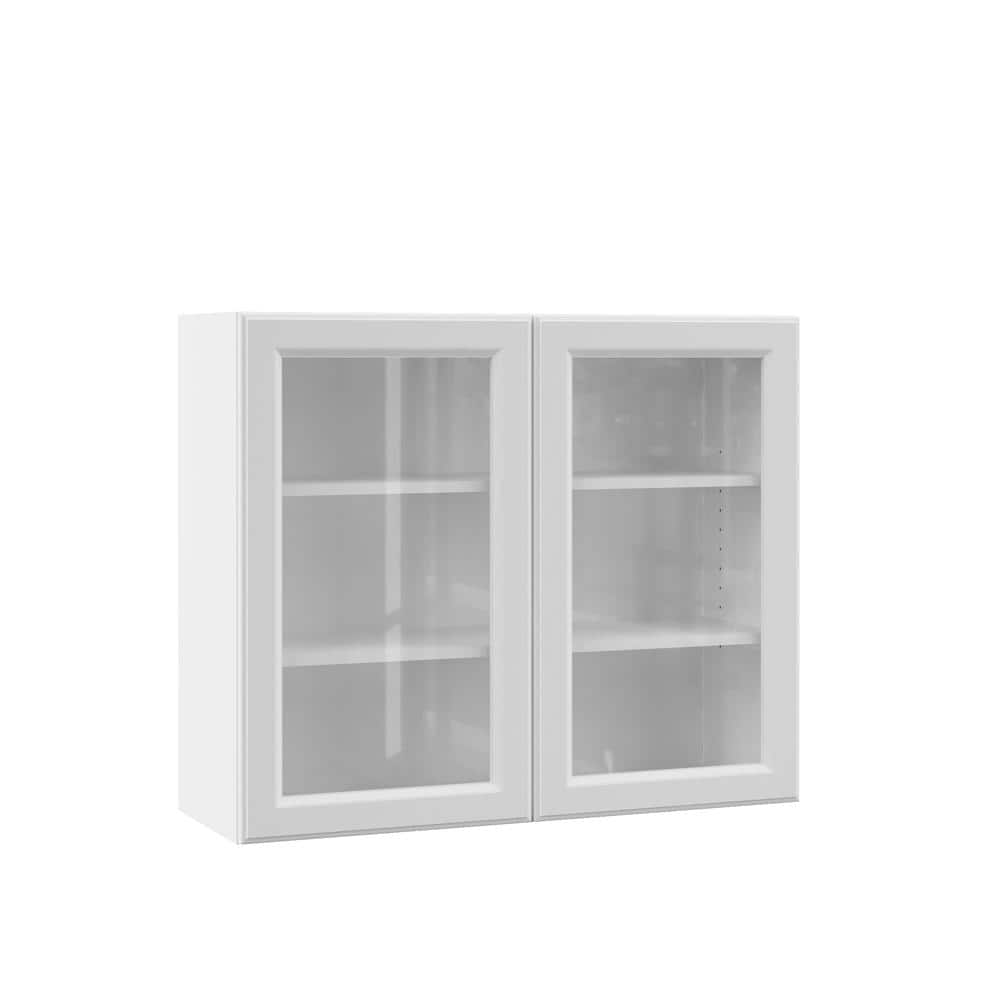 Hampton Bay Designer Series Elgin Assembled 36x30x12 In Wall Kitchen Cabinet With Glass Doors In White Wgd3630 Elwh The Home Depot