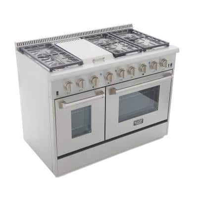 Pro-Style 48 in. 6.7 cu. ft. Natural Gas Range with Sealed Burners, Griddle and Convection Oven in Stainless Steel