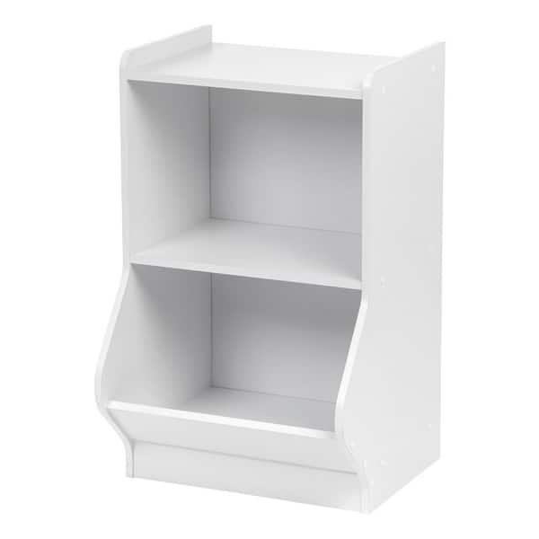 IRIS White 2-Tier Storage Organizer Shelf with Footboard | The Home Depot