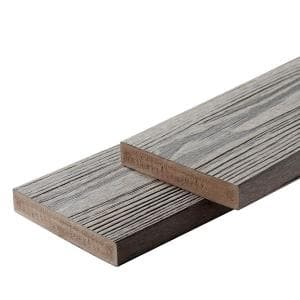 Apex 1 in. x 6 in. x 8 ft. Alaskan Driftwood Grey PVC Square Deck Boards (2-Pack)