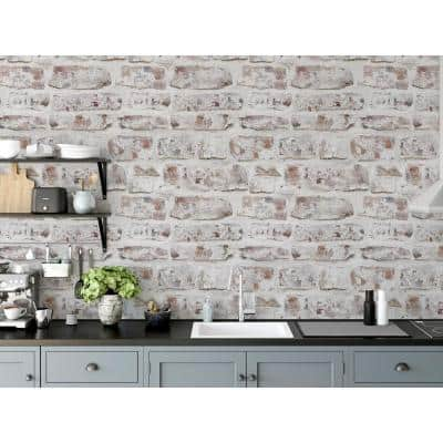 Whitewashed Fabric Peel & Stick Wallpaper Roll (Covers 33 Sq. Ft.)