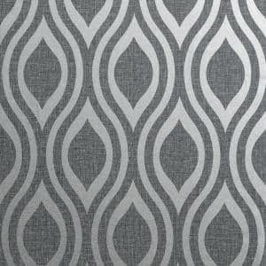 Luxe Ogee Gunmetal Silver Peel and Stick Non-Woven Paper Wallpaper