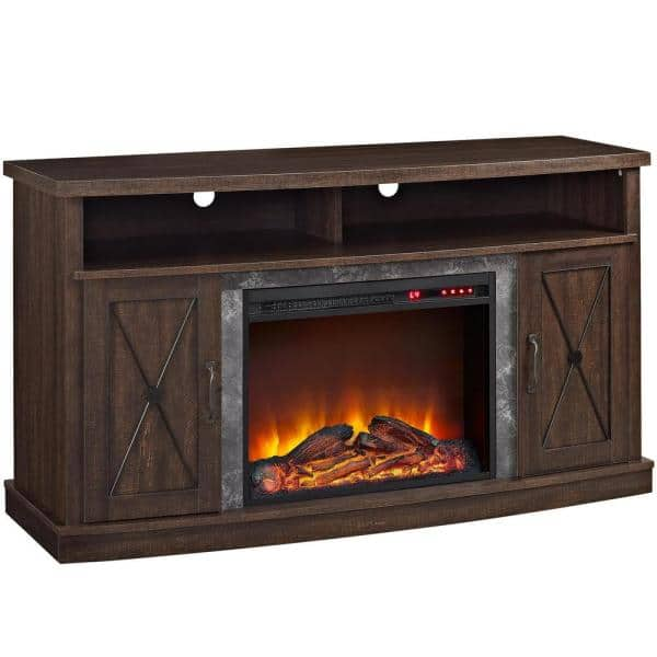 Ameriwood Home Yucca 53 5 In Freestanding Electric Fireplace Tv Stand In Espresso For Tvs Up To 60 In Hd17086 The Home Depot