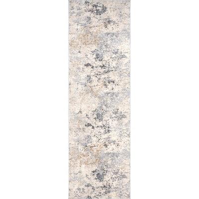 Contemporary Motto Abstract Beige 2 ft. x 8 ft. Indoor Runner