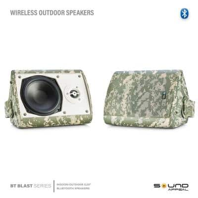 5.25 in. BT BLAST Indoor/Outdoor Wireless Bluetooth Speaker, Camouflage, Pair