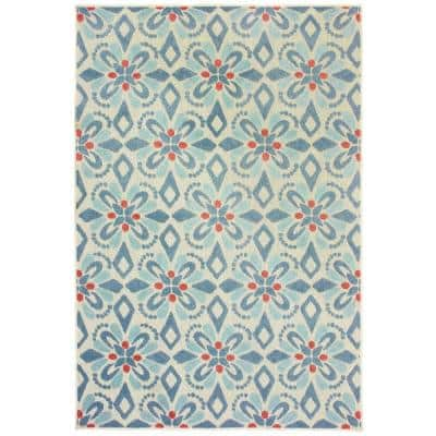 Katalina Blue/Ivory 8 ft. x 10 ft. Floral Indoor/Outdoor Area Rug