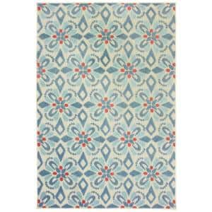 Katalina Blue/Ivory 10 ft. x 13 ft. Floral Indoor/Outdoor Area Rug