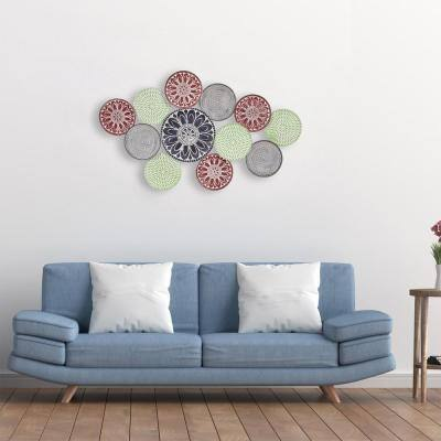 27 in. x 46 in. Textured Multicolor Enamel Painted Metal Plates Wall Decor