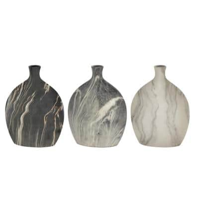 Black Stoneware Contemporary Decorative Vase (Set of 3)
