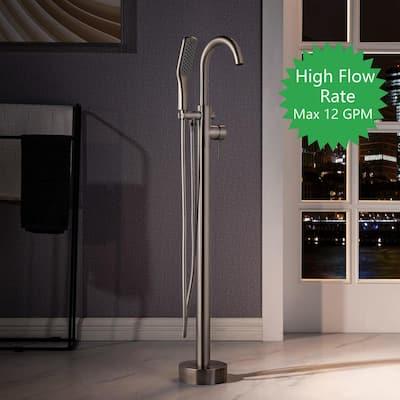 Loft Single-Handle Freestanding Floor Mount Tub Filler Faucet with Hand Shower in Brushed Nickel