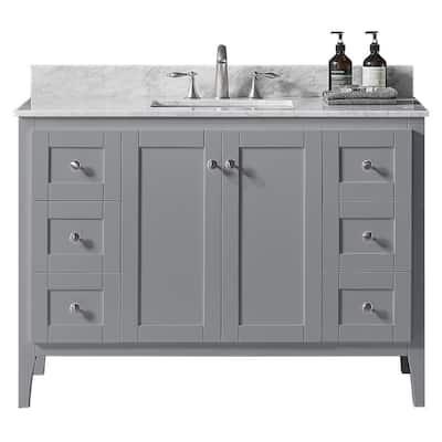 York 48 in. W x 22.4 in. D x 34.2 in. H Bath Vanity in Taupe Grey w/ Carrara Marble Vanity Top in White w/ White Basin