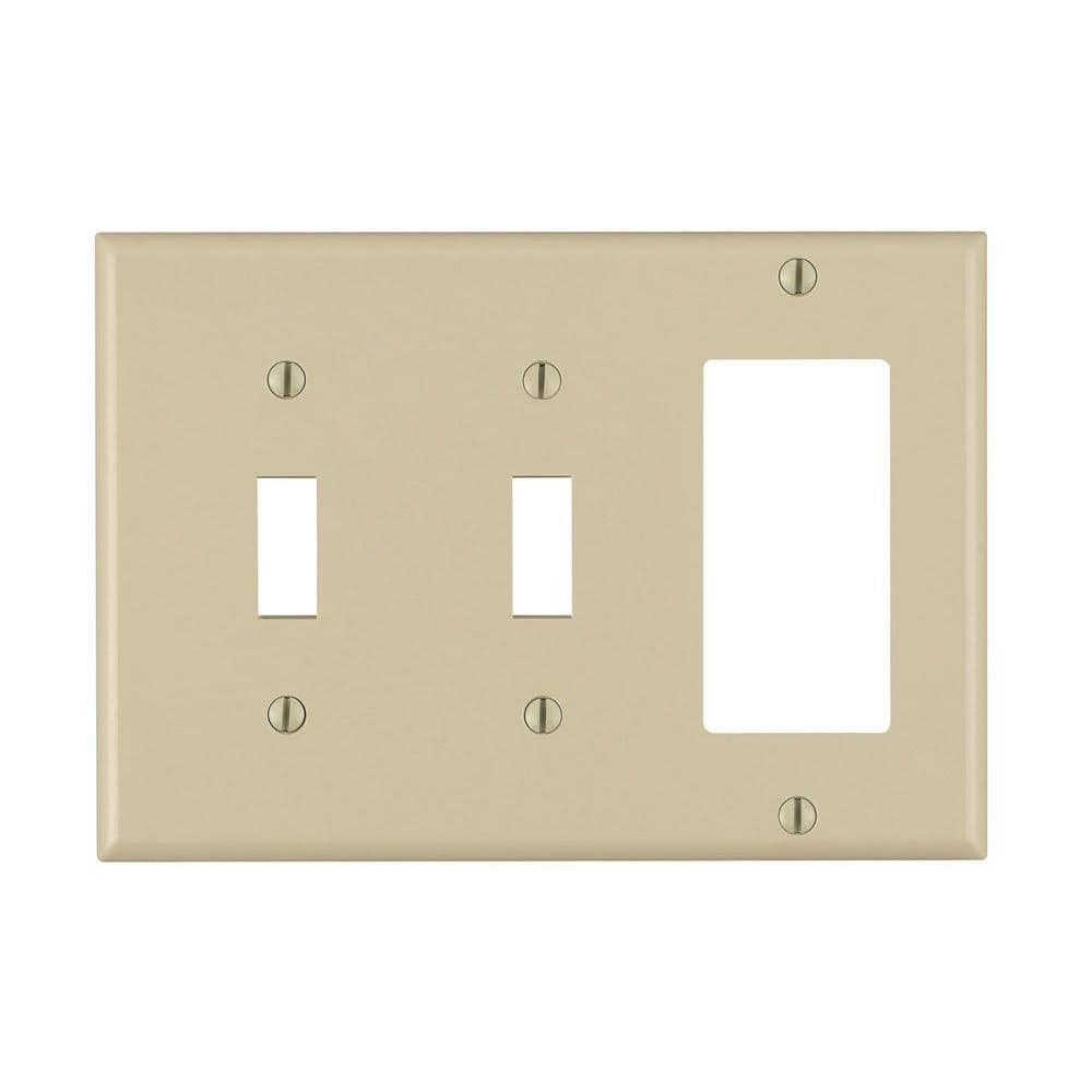 Leviton Ivory 3 Gang 2 Toggle 1 Decorator Rocker Wall Plate 1 Pack 80421 I The Home Depot