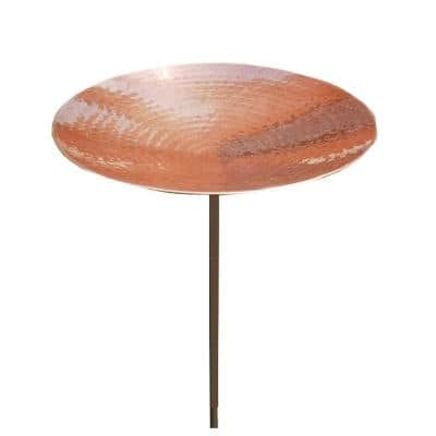 16 in. Dia Polished Copper Plated Stainless Steel Birdbath Bowl with Stake