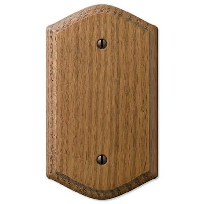 Country 1 Gang Blank Wood Wall Plate - Medium Oak