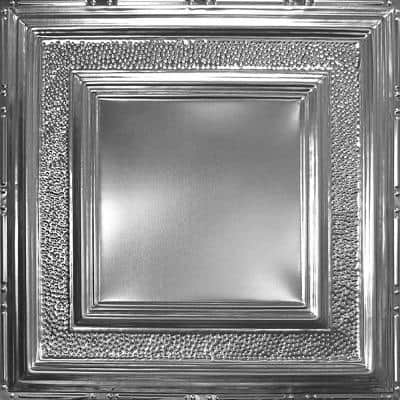 Pattern #6 in Brushed Satin Nickel 2 ft. x 2 ft. Nail Up Tin Ceiling Tile (20 sq. ft./Case)