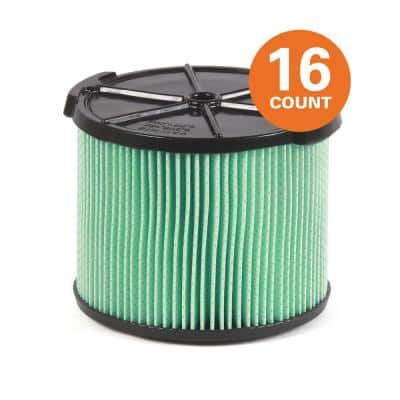 5-Layer HEPA Material Pleated Paper Filter for 3 to 4.5 Gal. RIDGID Wet/Dry Shop Vacuums (16-Pack)