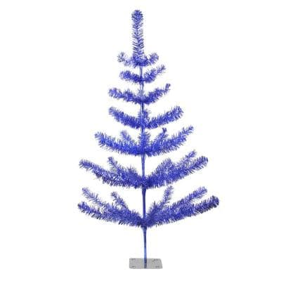3 ft. Unlit Blue Tinsel Pine Artificial Christmas Twig Tree