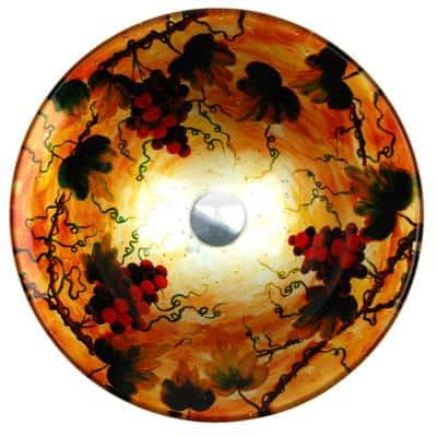 Tuscany Summer Hand-Painted Glass Vessel Sink in Silver and Gold