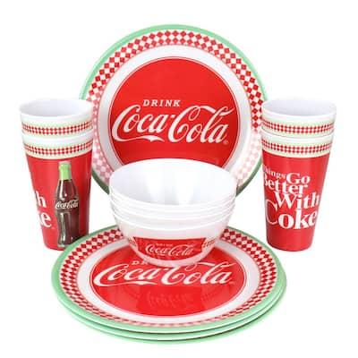 12-Piece Coca-Cola Red Melamine Dinnerware Set (Service for 4)