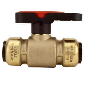 3/4 in. Brass Push-To-Connect Compact Ball Valve with Lockable Handle