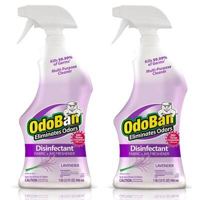 32 oz. Lavender Disinfectant Spray, Odor Eliminator, Sanitizer, Fabric Freshener, Mold Control, Multi-Purpose (2-Pack)