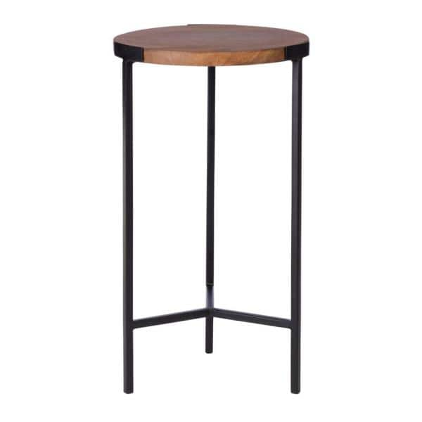StyleWell - Round Black Finish Metal End Table with Haze Finish Wood Top (12 in. W x 21.5 in. H)