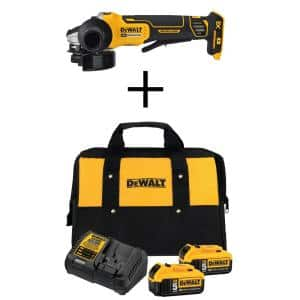 20-Volt MAX XR Cordless Brushless 4-1/2 in. Paddle Switch Small Angle Grinder with (2) 20-Volt 5.0Ah Batteries & Charger