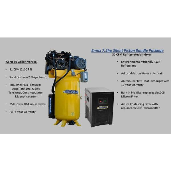 Emax Industrial Plus 80 Gal 7 5 Hp 1 Phase 2 Stage Silent Air Electric Pressure Lube Air Compressor With 30 Cfm Dryer Bundle Hsp07v080v1pk The Home Depot