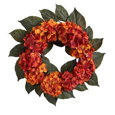 20 in. Autumn Hydrangea Artificial Wreath