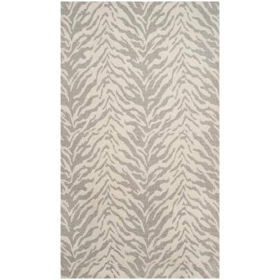 Marbella Light Gray/Ivory 4 ft. x 6 ft. Animal Print Area Rug