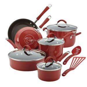 Cucina 12-Piece Aluminum Nonstick Cookware Set in Cranberry Red