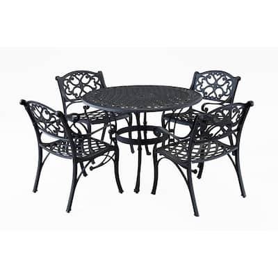 Biscayne 42 in. Black 5-Piece Round Patio Dining Set