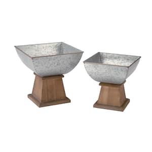 Silver Metal & Wood Decorative Bowl (Set of 2)