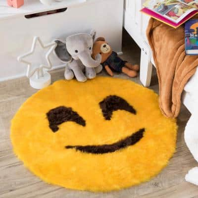 Smiley Emoji Yellow 2 ft. x 2 ft. Luxuriously Soft and Eco Friendly Round Faux Fur Kids Play Area Rug
