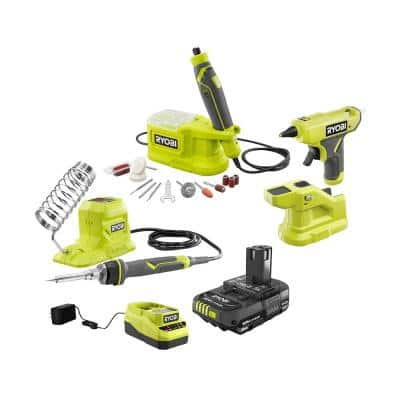 ONE+ 18V Cordless 3-Tool Combo Kit w/ Rotary Tool, Soldering Iron, Glue Gun, 2.0 Ah Lithium-Ion Battery and 18V Charger