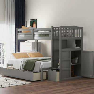 Gray Twin Over Full/Twin Convertible Bunk Bed with Storage Shelves and Drawers