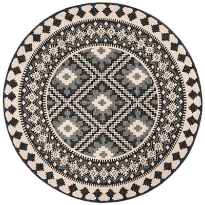 Veranda Ivory/Gray 3 ft. x 3 ft. Aztec Geometric Indoor/Outdoor Round Area Rug