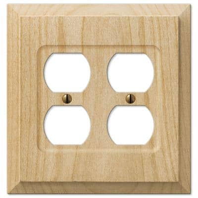 Cabin 2 Gang Duplex Outlet Wood Wall Plate - Unfinished (2-Pack)