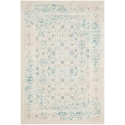 Passion Turquoise/Ivory 3 ft. x 5 ft. Border Area Rug