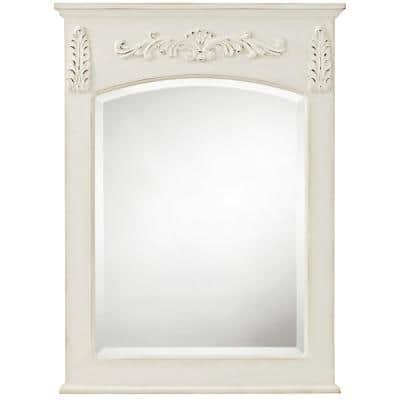 26 in. W x 35 in. H Framed Rectangular Bathroom Vanity Mirror in Antique White
