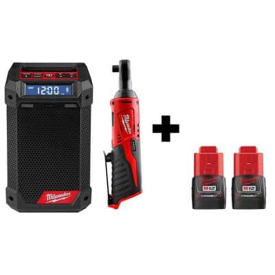M12 12-Volt Lithium-Ion Cordless 3/8 in. Ratchet and Bluetooth/AM/FM Jobsite Radio with 2 Batteries
