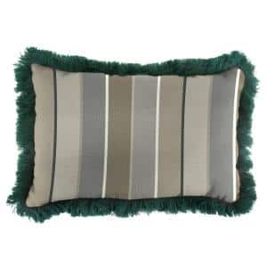 Sunbrella 19 in. x 12 in. Milano Charcoal Lumbar Outdoor Throw Pillow with Forest Green Fringe